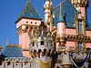 Sleeping Beauty castle with 50th anniversary decorations